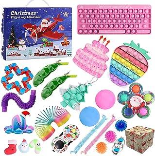 QASIMOF Adventskalender 2021 jul barn jul choklad fidget leksak pack fidgetset 24 st hängande prydnad adventskalender för ...