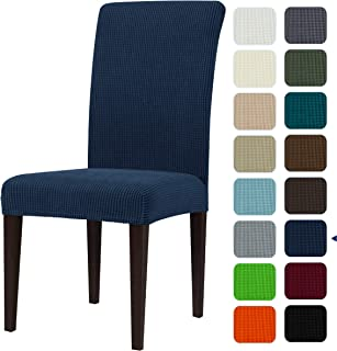 subrtex Dining Room Chair Slipcovers Sets Stretch Furniture Protector Covers for Armchair Removable Washable Elastic Parsons Seat Case for Restaurant Hotel Ceremony(4,Navy)