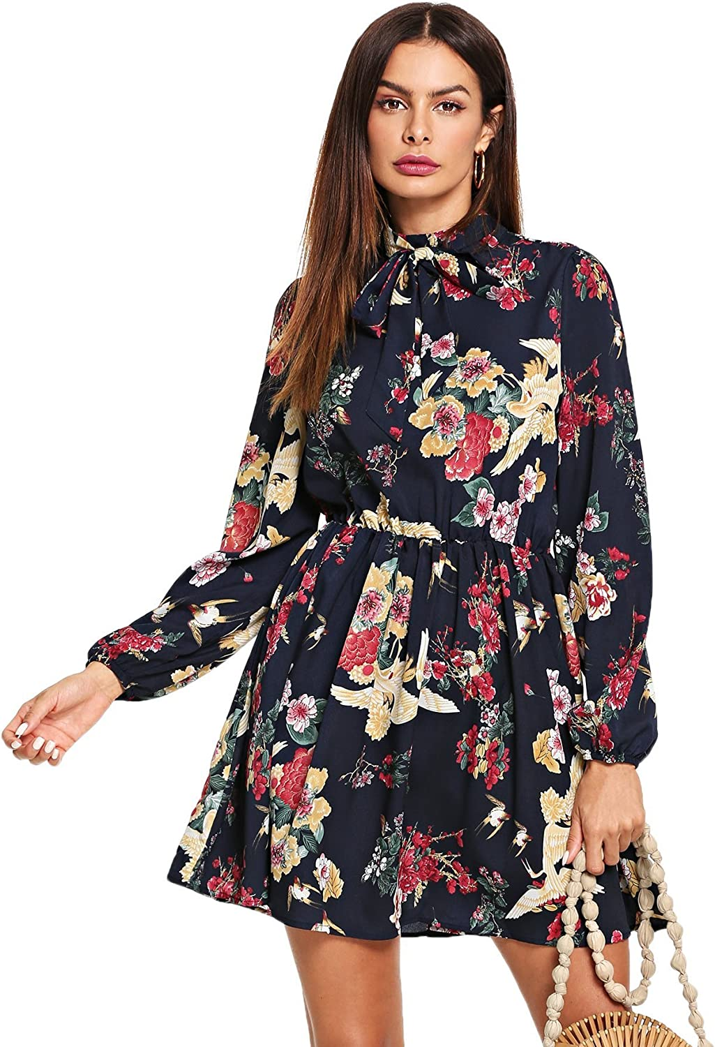 Floerns Women's Tie Neck Flower Print Long Sleeve Short Dress