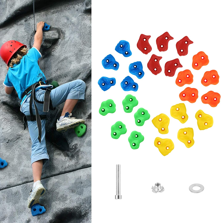 MoKo Presas de Escalada Interesante para Niños, [25 PZS] Asas de Escalada en Roca Bricolaje con Tornillos, Juego de Bloques de Escalada Infantil para Ejercicio en Interior al Aire Libre, Color