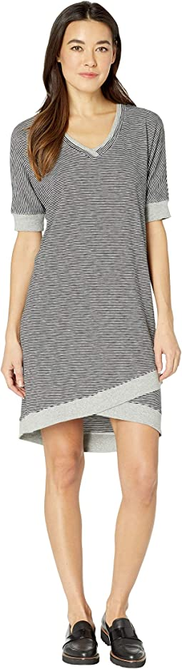 Skinny Stripe Dolman Sleeve T-Shirt Dress with Rib Trim