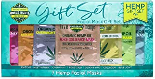 Uncle Bud's 1 of each Hemp Face masks (7 total) with pure Organic Hemp Seed Oil