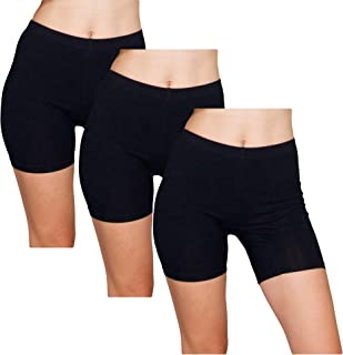 Slip Shorts | 3-Pack Black Bike Shorts | Cotton Spandex Stretch Boyshorts for Yoga