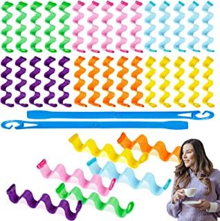 36 Pieces Hair Curlers Wave Formers Medium Long Hair 30 cm/12 in Hair Waver No Heat Styling Kit with Styling Hooks Curl Ha...