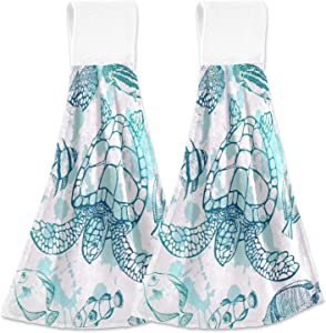 MAHU Hanging Hand Towels Tropical Fish Ocean Sea Turtle Kitchen Towels Absorbent Wipe Dish Towel Soft Washcloth Towels for Bathroom Gym Home Decor, 2 Pack