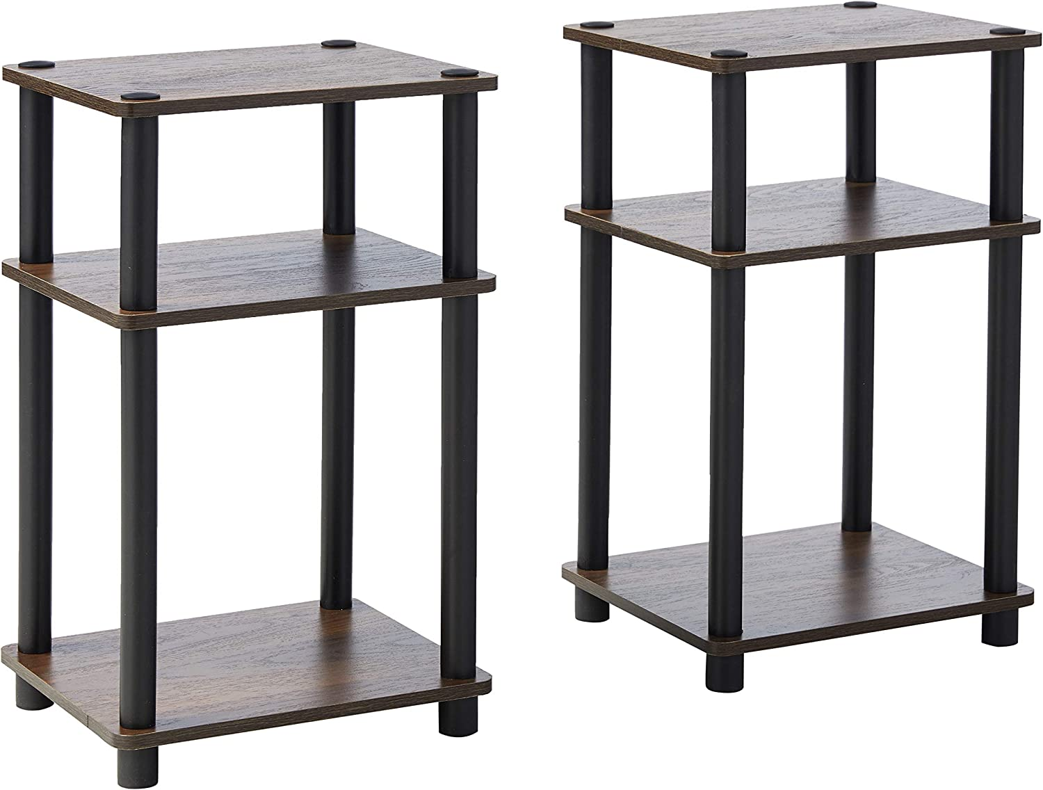 FURINNO Just 3-Tier Turn-N-Tube 2-Pack Table Columbia End Direct store Discount mail order Walnu