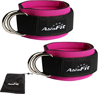 AbraFit Premium Ankle Straps for Cable Machines(Pack of 2), Neoprene Padded Ankle Straps with Double D-Ring(Free Carry Case Included)