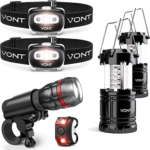 new arrival Vont 2-Pack Spark online Headlamp + 2-Pack Lantern + 1Pc Bike Light Bundle - Must-Have popular Lighting Package for the Outdoorsy - Ideal for Biking, Camping, Hunting, Backpacking, Power Outages, and Emergencies sale