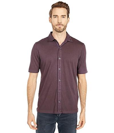 Mod-o-doc Dana Point Short Sleeve Button Front Shirt (Black Plum) Men