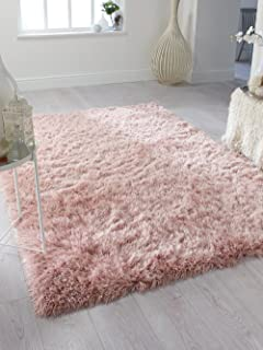 Dazzle Thick Silky Shiny Shimmer Shaggy Rug Very Soft Carpet (5'3''x7'7'' (160x230cm), Blush Pink)