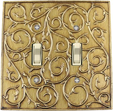 Meriville French Scroll 2 Toggle Wallplate, Double Switch Electrical Cover Plate, Antique Gold