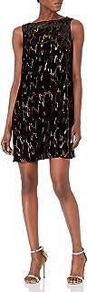 Tahari by Arthur S. Levine Women's Slvless Metallic Velvet Burnout Dress