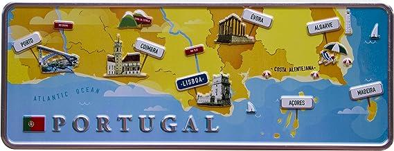 Mapa Mini–Portugal placa decorativa de metal 6,25x 16,50cm–Producto decorativo con partes de relieve