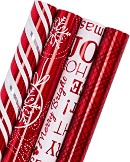 WRAPAHOLIC Christmas Gift Wrapping Paper Roll - Red and White Christmas Gift Wrap Design with Glitter Matallic Foil Shine - 4 Rolls - 30 inch X 120 inch Per Roll