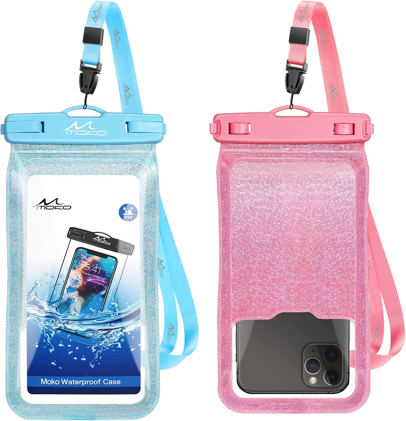 MoKo Waterproof Phone Pouch Holder Floating 2-Pack, IPX8 Glitter Waterproof Case Dry Bag Compatible for iPhone 13/13 Pro Max/iPhone 12 Mini/12 Pro Max 11 Pro Max/X/Xs Max/8/7/6/6s Plus, Galaxy S20/S21