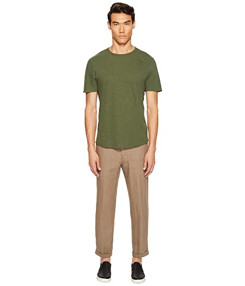 Shirt Crew Raw Sleeve Linen Short Blend Vince T Neck Hem PZq1xz