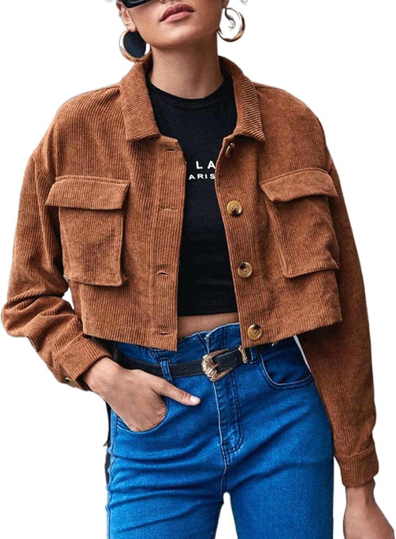 Springrain Womens Cropped Corduroy Shacket Button Down Long Sleeve Casual Shirt Jacket