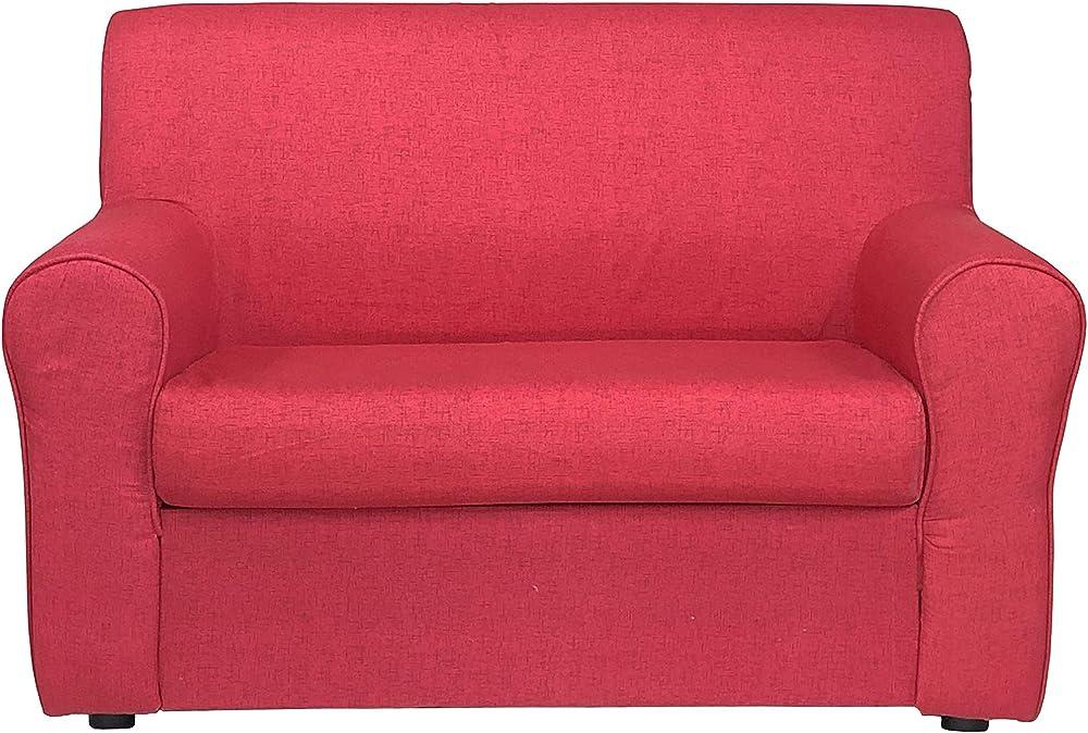 Totò piccinni, divano a 2 posti, imbottito, con braccioli, in tessuto, rosso melange