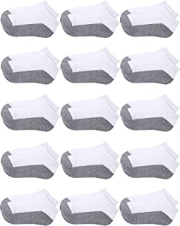 Coobey 15 Pack Kids' Half Cushion Low Cut Athletic Ankle Socks Boys Girls Ankle Socks