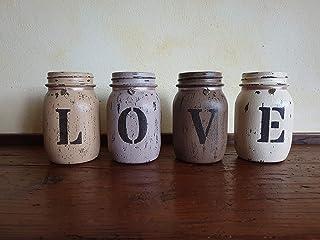 Barattoli LOVE, set in 4, shabby, idea regalo, arredamento vintage personalizzabile per cucina, casa