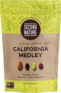 Second Nature California Medley Trail Mix, Snack Nuts, Gluten Free, Resealable Standup Pouch, California Medley Mix, 26 Ounce
