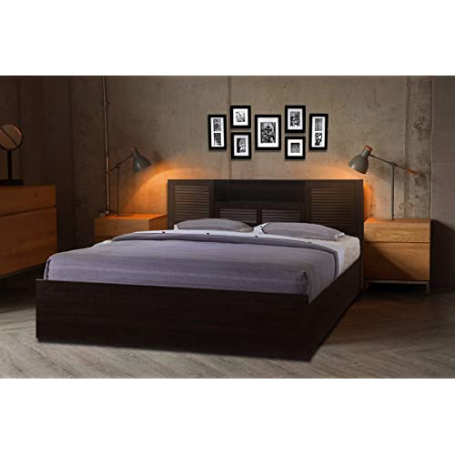 fdc9aa750 HomeTown Bolton Engineered Wood Hydraulic Storage King Size Bed in Wenge  Color