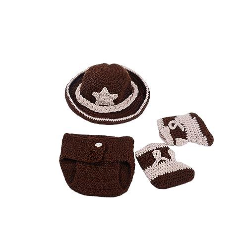 CX-Queen Newborn Baby Photography Prop Crochet Cowboy Hat Boot Diaper Set  Costume 4b8c6e35b170