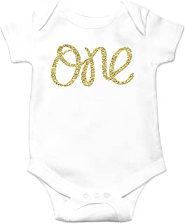 Baby Girls First Birthday Bodysuit Sparkly Gold One Girls 1st Birthday Outfit