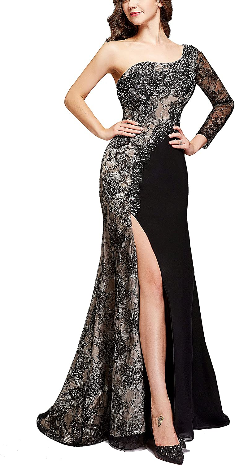 Butmoon Womens Lace One Shoulder Prom Dresses 2018 Long Sleeve Split Formal Evening Gown