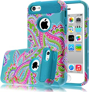 iPhone 5C Case,iphone5C Case,Kmall(TM) for iPhone 5C 2in1 High Impact Hybrid Dual Layer Case Heavy Duty Case Full-body Matte Rugged Armor Cover Case with Totem Tribe Floral Pattern (Blue)