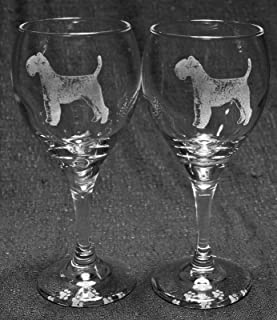 Muddy Creek Reflection Welsh Terrier Dog Laser Etched Wine Glass Set (2, TDW)
