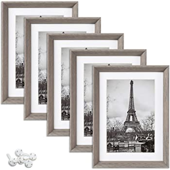 upsimples 5x7 Picture Frames with High Definition Glass,Display Pictures 4x6 with Mat or 5x7 Without Mat,Rustic Photo Frames for Wall or Tabletop Display,Set of 5,Light Grey