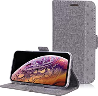 ProCase iPhone Xs Max Wallet Case, Folio Folding Case Flip Cover Protective Shell for Apple iPhone Xs Max 6.5 Inch 2018, with Card Slots Cash Clip and Kickstand -Grey
