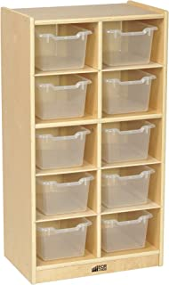 ECR4Kids Birch 10 Cubbie Tray Cabinet with Scoop Front Bins, Clear