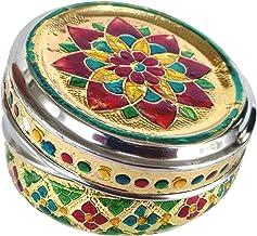 Rastogi Handicrafts Meena Worked Small Stainless Steel Flower Design Food Storage Box Easy Carry Gift Item 300 ml Capacity