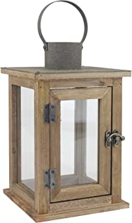 Stonebriar Rustic Wooden Lantern, Vintage Wood & Metal Design, Small, Brown, Medium