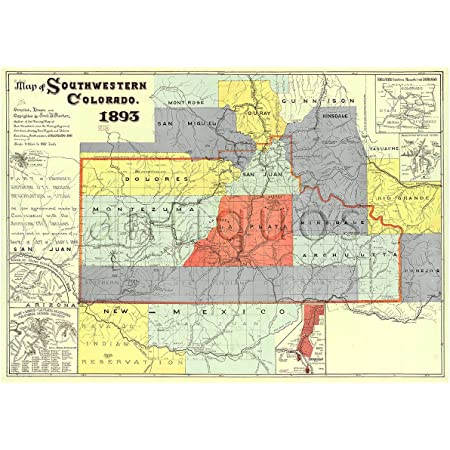 Antiguos Maps Southwest Colorado Map Circa 1893 Measures 24 In X 36 In 610 Mm X 915 Mm Prints Posters Prints