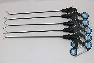 Laparoscopic Instruments Set Claw 2x3 Rat Tooth 1x2 Tenaculam Hunter and Crocie Olmi Type Graspers Forceps 5mm x 330mm-5Pc