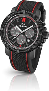 TW Steel Men's Grandeur Tech  Stainless Steel Quartz Watch with Silicone Strap, Black, 24 (Model: TS6)