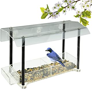 CLEVER GARDEN Clear Acrylic Bird Feeder with Strong Window Suction Cups and Seed Tray | Pillars | Outdoor Birdfeeder for W...