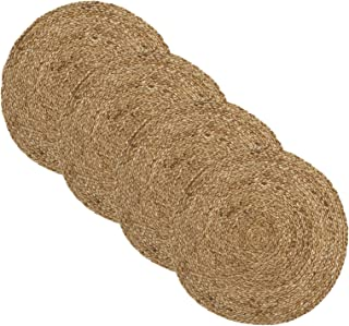 """Elrene Home Fashions Everyday Casual Braided Jute Round Placemat Set of 4, 15"""" x 15"""", 4 Pieces"""