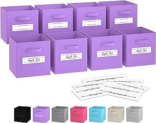 Royexe - Storage Cubes - (Set of 8) Storage Baskets | Features Dual Handles & 10 Label Window Cards | Cube Storage Bins | Foldable Fabric Closet Shelf Organizer | Drawer Organizers and Storage Purple