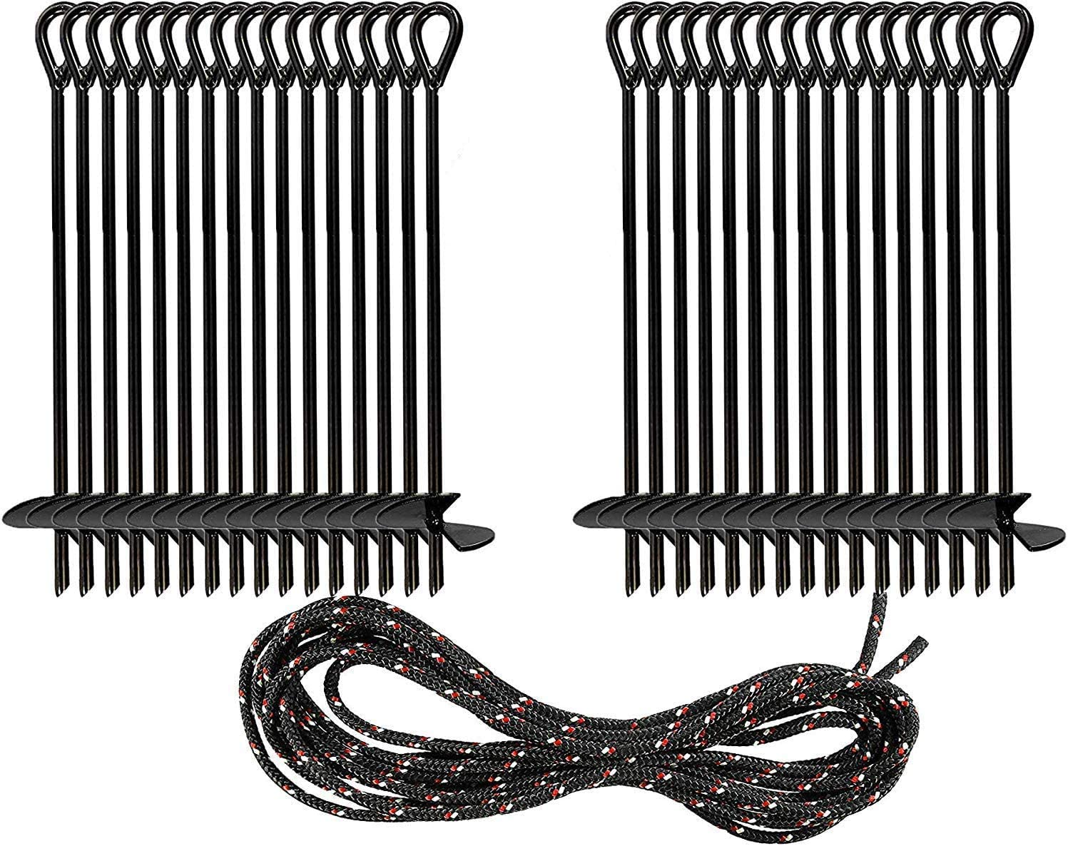 Ashman Black Ground Anchor (32 Pack) 15 Inches in Length and 10M