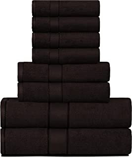 Divine Elysian - Premium, 100% Natural Ring-Spun Double Ply Cotton Yarn, Soft, Extra Absorbent & Durable, Quick-Dry 8 Piece Towel Set (2 Bath Towels, 2 Hand Towels & 4 Washcloths) - Chocolate Brown