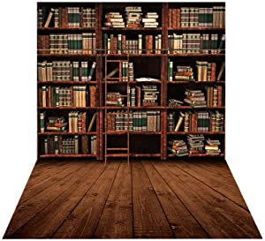 Allenjoy 3x5ft Vintage Bookshelf Backdrop Library Retro Bookcase Ladder Wood Floor Photography Background for Students Teachers Online Teaching Back to School Decor Banner Portrait Photo Booth Props