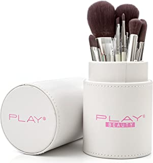 Makeup Brush Set Of 8 By Play Beauty: Make Up Tools With Soft Material For Perfect Application In White Designer Case, For Eyeshadow, Blush, Foundation, Contour And Blending