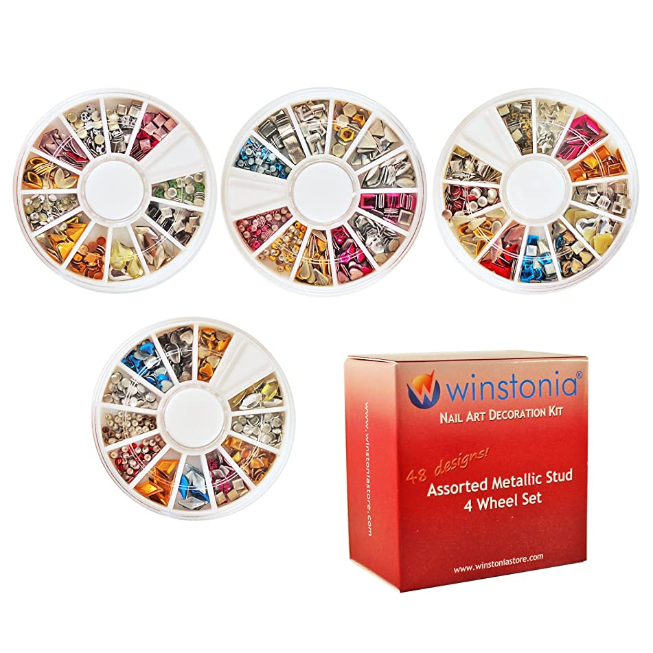 Winstonia 3D Nail Art Metallic Metal Stud Mixed Shapes Decoration Bundle Set - 48 shapes/colors Heart Star Square Round and More