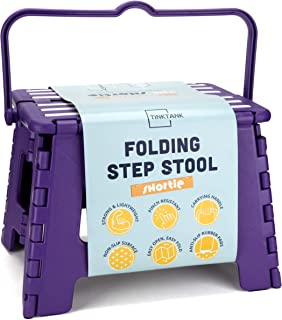 TinkTank Folding Step Stool for Kids & Adults: Shortie 9 Inch Foldable Portable Stool with Carry Handle for Indoors & Outdoors, Ages 2 & Up, Purple