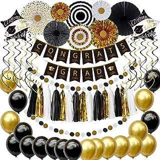 Graduation Decorations - 62 Pcs Graduation Party Supplies Accessories, Congrats Grad Banner, Paper Fan, Garland Streamers,...