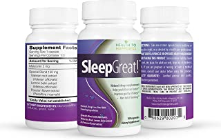 SLEEP GREAT is a Non-Habit Forming Natural Sleeping Aid. Helps You fall Asleep Faster SPECIAL SPECIAL BLEND with Melatonin...